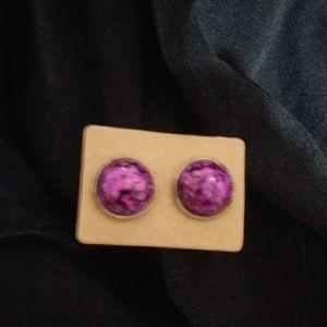 Chunky Magenta Glitter Earrings